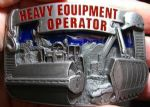 HEAVY EQUIPMENT OPERATOR BELT BUCKLE + display stand. Code FC5